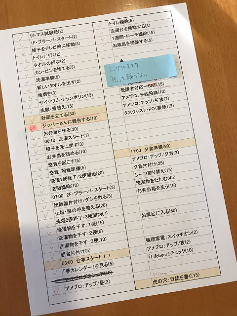 家事のチェックリスト